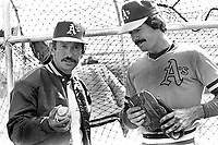Oakland A's manager Billy Martin with pitcher Matt Keough....during Spring training in Arizona.(.1981/photo/ Ron Riesterer)