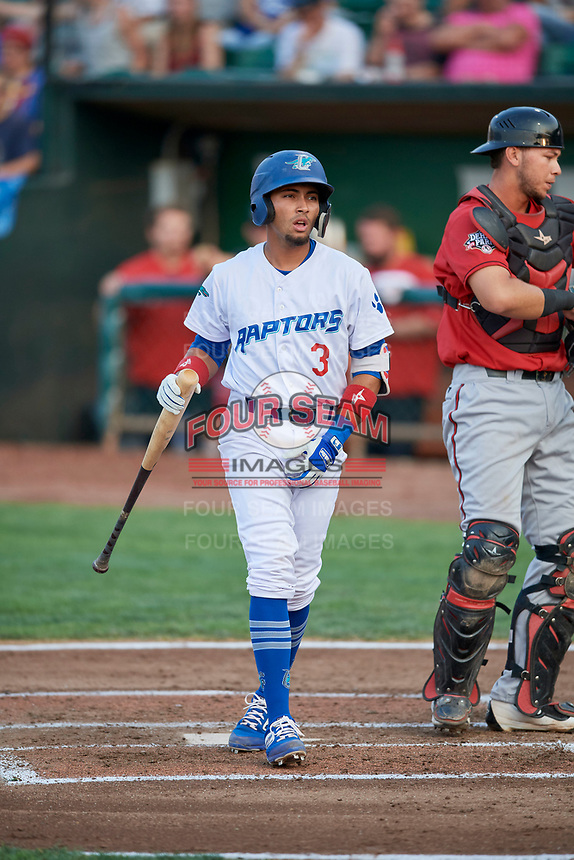 Ramon Rodriguez (3) of the Ogden Raptors bats against the Billings Mustangs at Lindquist Field on August 18, 2018 in Ogden, Utah. Billings defeated Ogden 6-4. (Stephen Smith/Four Seam Images)