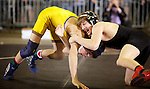02/26/11--Oregon City's Kyle Sether wrestles Newberg's Garrett Rider in the 103 lb. weight division of the 6A wrestling state championship at the Memorial Coliseum..Photo by Jaime Valdez........................................