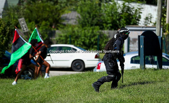 """September 5, 2020: With the Kentucky Derby being the biggest sports event for the State of Kentucky, protestors have chosen theevent as a focal point for their calls for justice in the death of Breonna Taylor. Multiple groups from around the country have converged on Louisville to protest during the """"Run for the Roses"""" at Churchill Downs in Louisville, Kentucky. Michael Clubb/Eclipse Sportswire/CSM"""