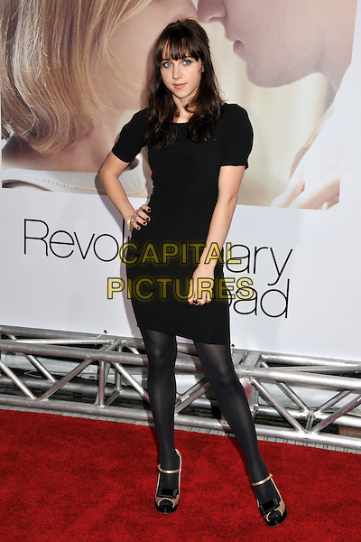 "ZOE KAZAN .""Revolutionary Road"" Los Angeles Premiere at Mann's Village Theatre, Westwood, California, USA..December 15th, 2008.full length black dress tights hand on hip .CAP/ADM/BP.©Byron Purvis/AdMedia/Capital Pictures."