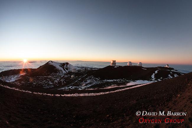 Mauna Kea Observatories At Sunset