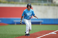 Shaun O'Keeffe (20) of Donovan Catholic High School in Toms River, NJ takes his lead off of third base during the Atlantic Coast Prospect Showcase hosted by Perfect Game at Truist Point on August 23, 2020 in High Point, NC. (Brian Westerholt/Four Seam Images)