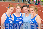 Sinead O'Connor, Ciara Walsh Tralee Harriers, Ailbhe Courtney St Brendan's and Dearbhail Foley Tralee Harriers running in the Junior and Master Athletic championships at An Riocht, Castleisland on Wednesday evening