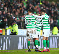 1st March 2020; McDairmid Park, Perth, Perth and Kinross, Scotland; Scottish Premiership Football, St Johnstone versus Celtic; Celtic players celebrate with Ryan Christie of Celtic after he makes it 1-0 to Celtic in the 81st minute