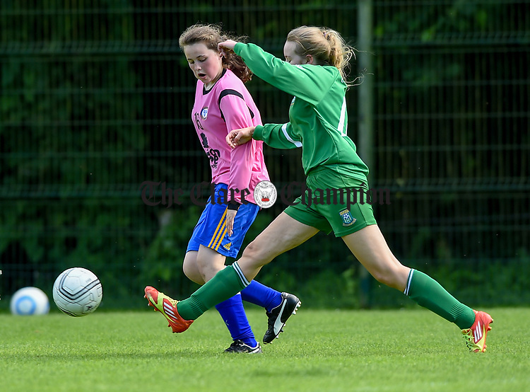 Brianna Maxwell of Ennis Town in action against X of Connolly during their CSSL U-16 girls final in Tulla. Photograph by John Kelly