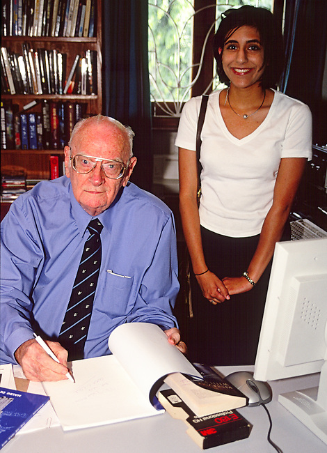 This image was taken of the legendary science fiction writer Sir Arthur C Clarke at his residence in Colombo, Sri Lanka in 2000.<br />
