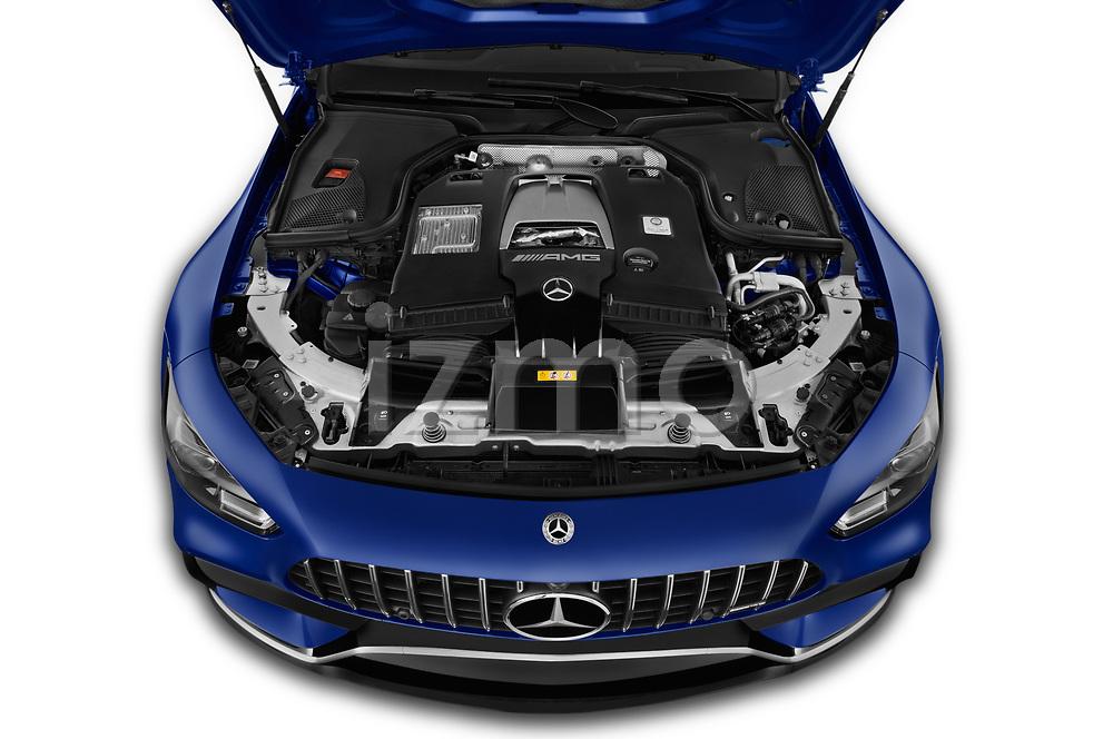 Car stock 2019 Mercedes Benz AMG-GT 63-S 5 Door Hatchback engine high angle detail view