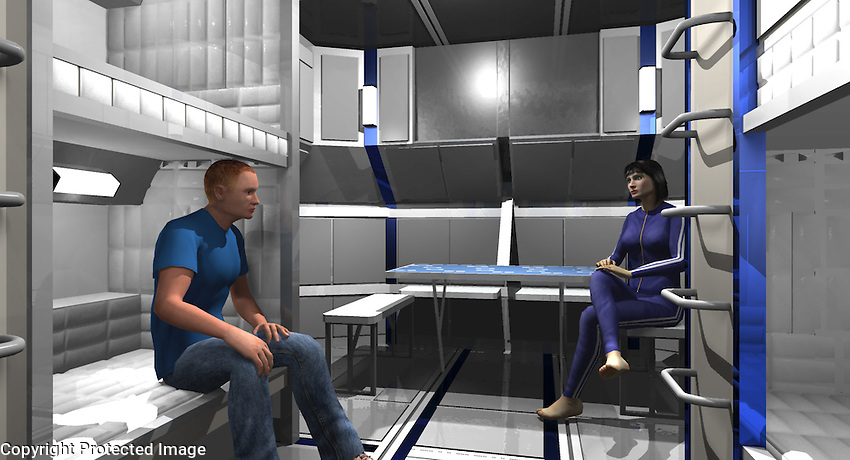 The 3D model of the Living Module. Rosa and James Corrigan (Sharlto Copley) having a conversation.