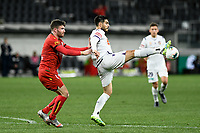 30th July 2020; Bankwest Stadium, Parramatta, New South Wales, Australia; A League Football, Adelaide United versus Perth Glory; Bruno Fornaroli of Perth Glory controls the ball under pressure from Ryan Strain of Adelaide United