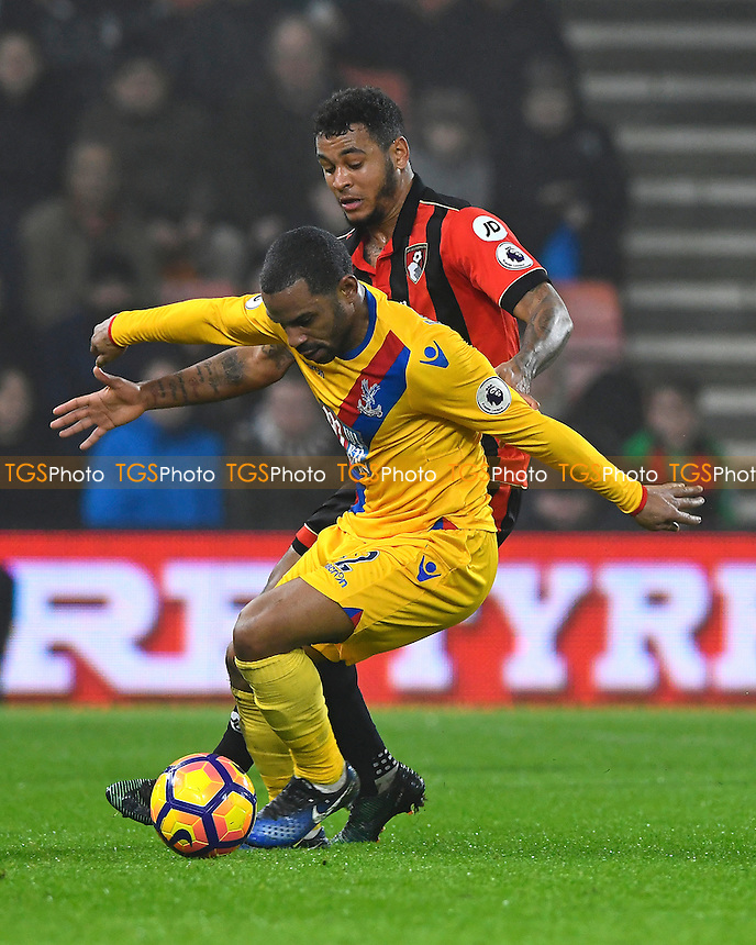 Jason Puncheon holds off Joshua King of AFC Bournemouth during AFC Bournemouth vs Crystal Palace, Premier League Football at the Vitality Stadium on 31st January 2017