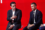 National soccer team of Spain new coach Luis Enrique Martinez (r) with the RFEF's Sports Director Jose Francisco Molina during his official presentation. July 19,2018. (ALTERPHOTOS/Acero)