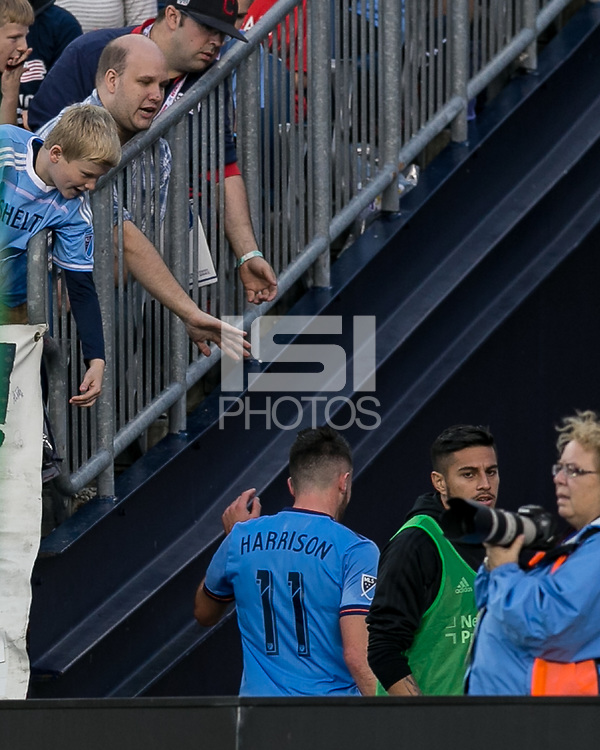 Foxborough, Massachusetts - October 15, 2017: In a Major League Soccer (MLS) match, New England Revolution (blue/white) defeated New York City FC (light blue/blue), 2-1, at Gillette Stadium.<br /> Red Card: Jack Harrison.