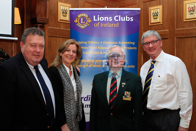 Martin and Patricia McGowan, District Governor Joe Smith and Caninet Member Donal Browning at the Launch of the Lions Club at  Scholars Townhouse...Photo NEWSFILE/Jenny Matthews..(Photo credit should read Jenny Matthews/NEWSFILE)