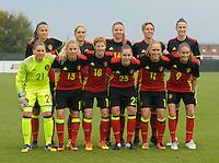 20161023 - TUBIZE , BELGIUM : Belgian team with Sofie Van Houtven (21) - Heleen Jaques (3) - Maud Coutereels (4) - Laura De Neve (5) - Tessa Wullaert (9) - Aline Zeler (10) - Janice Cayman (11) - Tine Schryvers (13) - Nicky Van Den Abbeele (16) - Lien Mermans (18) - Elien Van Wynendaele (23)  pictured during a friendly game between the women teams of the Belgian Red Flames and Russia at complex Euro 2000 in Tubize , Sunday 23 October 2016 ,  PHOTO Dirk Vuylsteke | Sportpix.Be