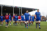Bath Rugby players leave the field after the pre-match warm up. Aviva Premiership match, between Harlequins and Bath Rugby on March 2, 2018 at the Twickenham Stoop in London, England. Photo by: Patrick Khachfe / Onside Images