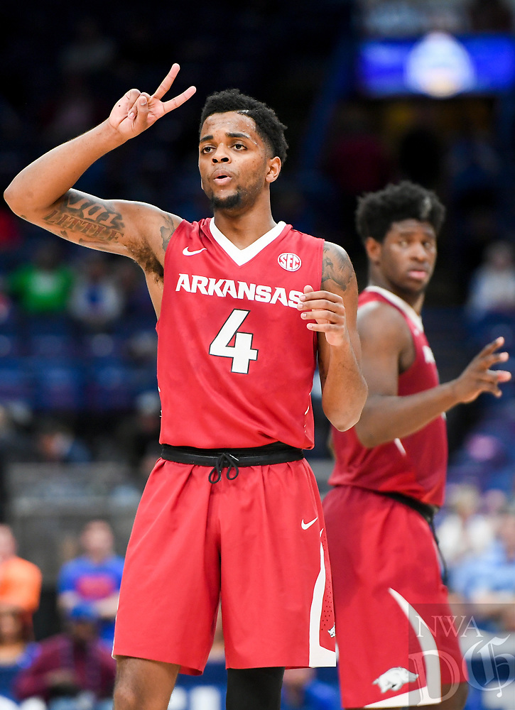 NWA Democrat-Gazette/CHARLIE KAIJO Arkansas Razorbacks guard Daryl Macon (4) gestures during the Southeastern Conference Men's Basketball Tournament quarterfinals, Friday, March 9, 2018 at Scottrade Center in St. Louis, Mo.