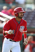 Brian Hernandez #14 of the Inland Empire 66'ers runs the bases against the High Desert Mavericks at San Manuel Stadium on April 29, 2012 in San Bernardino,California. Inland Empire defeated High Desert 3-0.(Larry Goren/Four Seam Images)