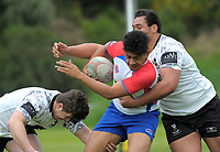 Action from the Village Kings 10s rugby tournament  match between Horowhenua Kapiti and Moata'a (white and black) at Porirua Park in Porirua, New Zealand on Saturday, 21 October 2017. Photo: Dave Lintott / lintottphoto.co.nz
