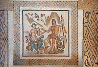 Polyphemus, the giant son of Poseidon and Thoosa in Greek mythology and  one of the Cyclopes described in Odyssey, with Galatea, 2nd century Roman Mosaic from the Alcazar of Cordoba, Spain
