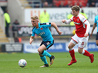 Kyle Dempsey of Fleetwood Town and Matt Palmer of Rotherham United during the Sky Bet League 1 match between Rotherham United and Fleetwood Town at the New York Stadium, Rotherham, England on 7 April 2018. Photo by Leila Coker.