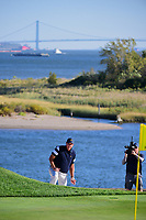 Phil Mickelson (USA) looks over his chip shot on 14 during round 1 foursomes of the 2017 President's Cup, Liberty National Golf Club, Jersey City, New Jersey, USA. 9/28/2017.<br /> Picture: Golffile   Ken Murray<br /> ll photo usage must carry mandatory copyright credit (&copy; Golffile   Ken Murray)