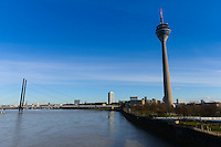 Dusseldorf TV Tower Rheinturm and Rhine river, Germany