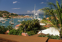 AJ2428, St. Barts, Caribbean, Gustavia, St. Barthelemy, Saint Barts, Caribbean Islands, Scenic aerial view of the harbor on the Caribbean Sea in Gustavia the capital of the island of Saint Barthelemy (a department of Guadeloupe).