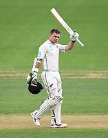 29th November 2019, Hamilton, New Zealand;  New Zealand opening batsman Tom Latham celebrates his century on day 1 of the 2nd international cricket test match between New Zealand and England at Seddon Park, Hamilton, New Zealand. Friday 29 November 2019