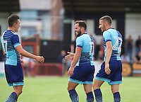 Sam Wood of Wycombe Wanderers (11) is congratulated by Luke O'Niel of Wycombe Wanderers after he hits the ball into the top corner of the goal to make it 1-4 during the Friendly match between Maidenhead United and Wycombe Wanderers at York Road, Maidenhead, England on 30 July 2016. Photo by Alan  Stanford PRiME Media Images.