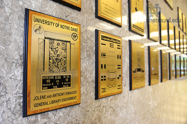 Hesburgh Library endowed collections plaque wall
