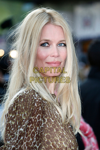"CLAUDIA SCHIFFER .Arriving at the UK Film Premiere for ""Flashbacks Of A Fool"", Empire Leicester Square, London, England, .April 13th 2008. .portrait headshot brown leopard print .CAP/DAR.©Darwin/Capital Pictures"