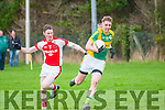 John Mitchels V Rathmore: John Mitchel's George Bastible  wins the ball from Rathmore's  Daniel O'Sullivanl in the play off game in division 2  of the county league held in Finuge on Sunday last.