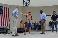 WEST PALM BEACH FL - NOVEMBER 3: Sen. Bill Nelson, Jimmy Buffett, Democratic Florida gubernatorial nominee Andrew Gillum and Chris King during the Bring It Home campaign rally at Meyer Amphitheater on November 3, 2018 in West Palm Beach, Florida. <br /> CAP/MPI04<br /> &copy;MPI04/Capital Pictures