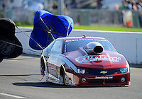 Sept. 29, 2012; Madison, IL, USA: NHRA pro stock driver Greg Anderson during qualifying for the Midwest Nationals at Gateway Motorsports Park. Mandatory Credit: Mark J. Rebilas-