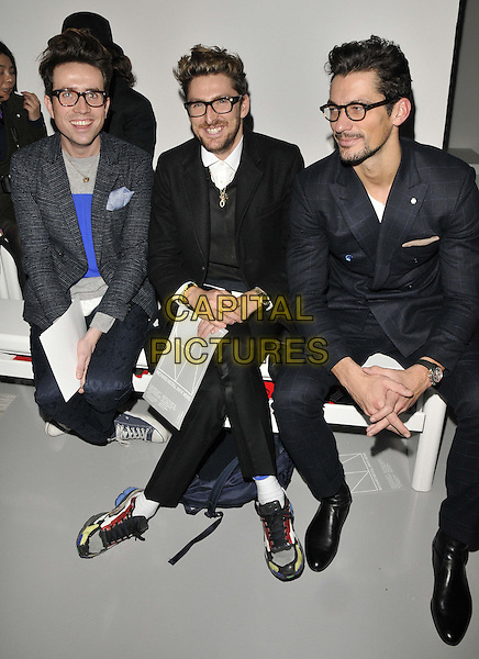 LONDON, ENGLAND - JANUARY 06: Nick Grimshaw, Henry Holland &amp; David Gandy attend the Richard Nicoll catwalk show, London Collections: Men's ( LCM ) a/w 2014 season, BFC Showspace, Victoria House, Bloomsbury Place, on Monday January 06, 2014 in London, England, UK.<br /> CAP/CAN<br /> &copy;Can Nguyen/Capital Pictures