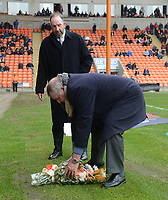 Pete Nicholson looks on as Terry Alcock lays flowers in tribute to the late Fred Pickering<br /> <br /> Photographer Kevin Barnes/CameraSport<br /> <br /> The EFL Sky Bet League One - Blackpool v Oxford United - Saturday 23rd February 2019 - Bloomfield Road - Blackpool<br /> <br /> World Copyright © 2019 CameraSport. All rights reserved. 43 Linden Ave. Countesthorpe. Leicester. England. LE8 5PG - Tel: +44 (0) 116 277 4147 - admin@camerasport.com - www.camerasport.com