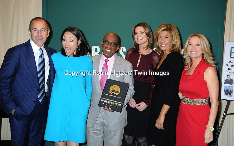 "Matt Lauer, Ann Curry, Al Roker, Savannah Guthrie, Hoda Kotb and Kathie Lee Gifford attend the book signing for ""From Yesterday to TODAY"" .on November 17, 2011 at Barnes & Noble on 5th Avenue in New York City."