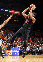 Miami guard James Palmer (12) during the game Tuesday, Jan. 12, 2016 in Charlottesville, Va. Virginia defeated Miami 66-58. Photo/Andrew Shurtleff