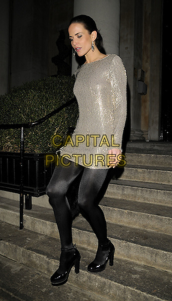 SOPHIE ANDERTON.The Ann Summers Enchantment Collection launch party, The Baccarat Room, 1 Marylebone Rd., London, England..December 1st, 2008.anne full length black sequins sequined  silver dress tights shoes clutch bag long sleeves .CAP/CAN.©Can Nguyen/Capital Pictures.