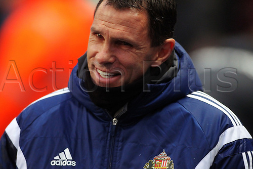 01.01.2015.  Manchester, England. Barclays Premier League. Manchester City versus Sunderland. Sunderland manager Gus Poyet with a wry smile