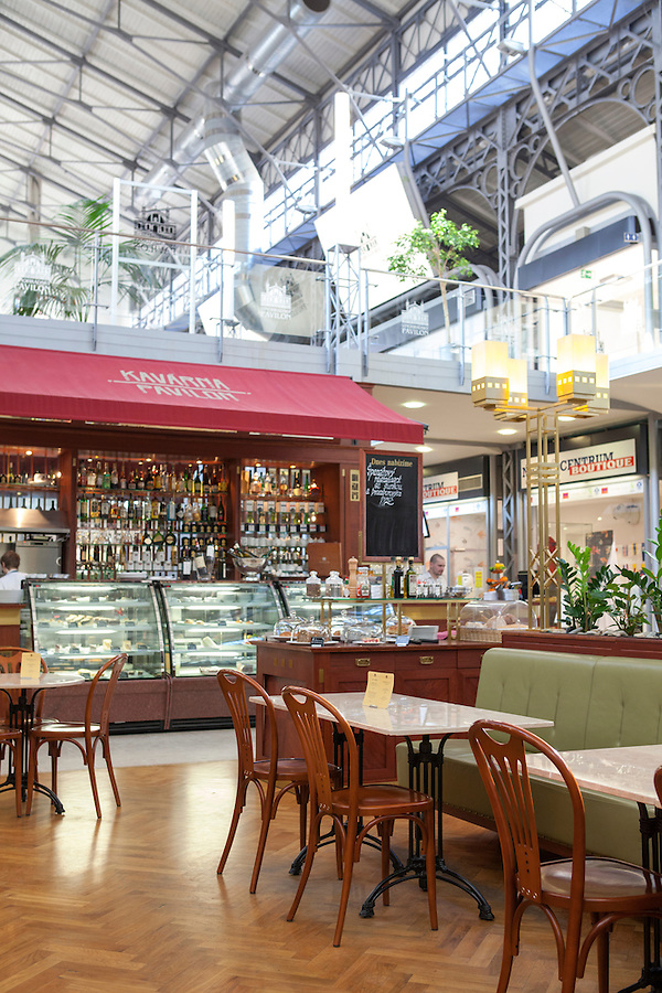 The Pavilon Cafe in  Vinohradsky Pavilion, a mall in the Vinohradska neighborhood of Prague, Czech Republic, Europe