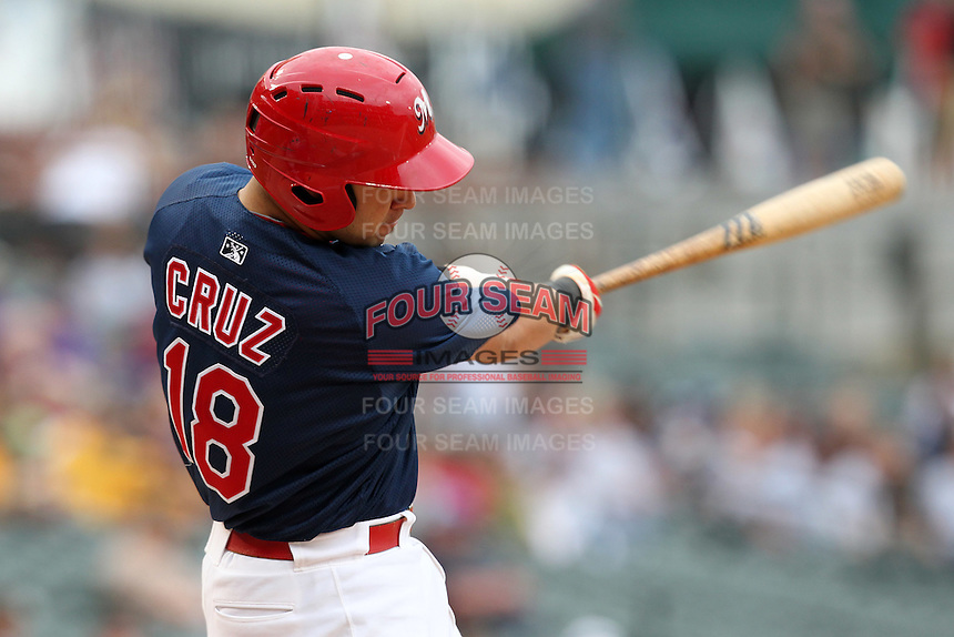 Memphis Redbirds catcher Tony Cruz #18 at bat during a game versus the Round Rock Express at Autozone Park on April 30, 2011 in Memphis, Tennessee.  Memphis defeated Round Rock by the score of 10-7.  Photo By Mike Janes/Four Seam Images