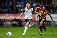 Bolton Wanderers' James Weir competing with Bradford City's Danny Devine (right) <br /> <br /> Photographer Andrew Kearns/CameraSport<br /> <br /> EFL Leasing.com Trophy - Northern Section - Group F - Bolton Wanderers v Bradford City -  Tuesday 3rd September 2019 - University of Bolton Stadium - Bolton<br />  <br /> World Copyright © 2018 CameraSport. All rights reserved. 43 Linden Ave. Countesthorpe. Leicester. England. LE8 5PG - Tel: +44 (0) 116 277 4147 - admin@camerasport.com - www.camerasport.com