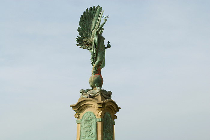 The peace statue on the seafront in Brighton & Hove. It depicts an angel of peace, holding an orb and an olive branch. It is a memorial to Edward VII, 'The Peacemaker'... England 2007.