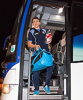 Luke O'Nien of Wycombe Wanderers arrives carrying a Spanish book ahead of the Sky Bet League 2 match between Colchester United and Wycombe Wanderers at the Weston Homes Community Stadium, Colchester, England on 21 February 2017. Photo by Andy Rowland / PRiME Media Images.