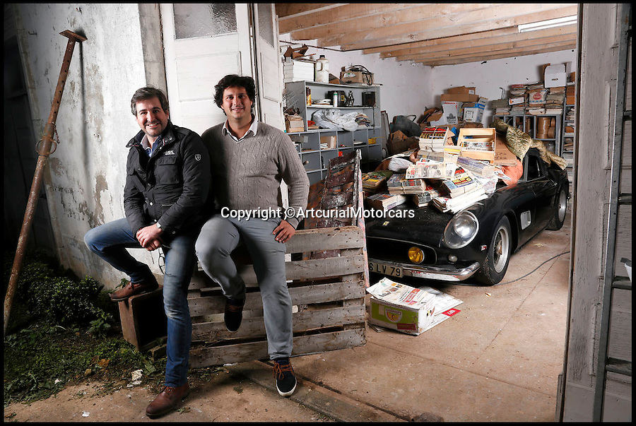 BNPS.co.uk (01202 558833)<br /> Pic: ArtcurialMotorcars/BNPS<br /> <br /> ***Please Use Full Bylne***<br /> <br /> Matthieu Lamoure and Pierre Novikoff who found the mass haul of motorcars.<br /> <br /> An incredible &pound;12 million treasure trove of classic cars has been discovered after spending 50 years languishing in storage on a farm.<br /> <br /> The 60 rusting motors, which include a vintage Ferrari California Spider, a Bugatti and a very rare Maserati, were found gathering dust and hidden under piles of newspapers in garages and outbuildings at a property in France.<br /> <br /> The 'once-in-a-lifetime' find has been compared to a major archaeological discovery, on a par with Tutankhamun's tomb.