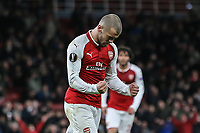 Jack Wilshere of Arsenal celebrates after he scores his team's third goal of the game to make the score 3-0 during the UEFA Europa League match between Arsenal and FC BATE Borisov  at the Emirates Stadium, London, England on 7 December 2017. Photo by David Horn.