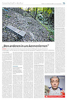 die tageszeitung taz (German daily) on the Ukrainian approch to holocaust mass murders, October 2016.<br /> Photo: Martin Fejer