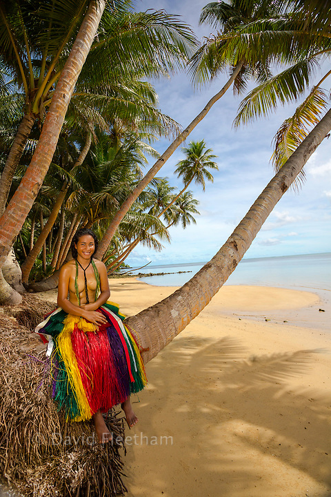 This young girl (MR) is in a traditional outfit for cultural cerimonies on the island of Yap, Micronesia.